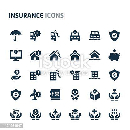 Simple bold vector icons related to insurance. Symbols such as car, house, business and personal life insurance are included in this set. Editable vector, still looks perfect in small size.