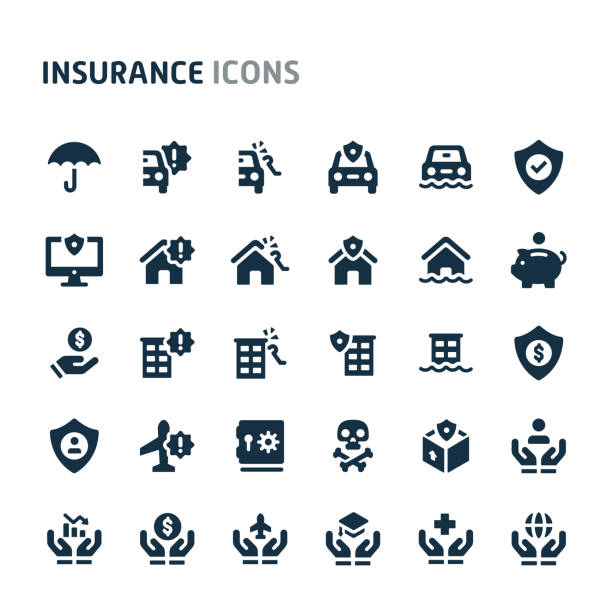 insurance vector icon set. fillio black icon series. - insurance stock illustrations