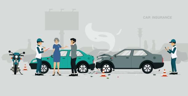 stockillustraties, clipart, cartoons en iconen met insurance worker - ongeluk transportatie evenement