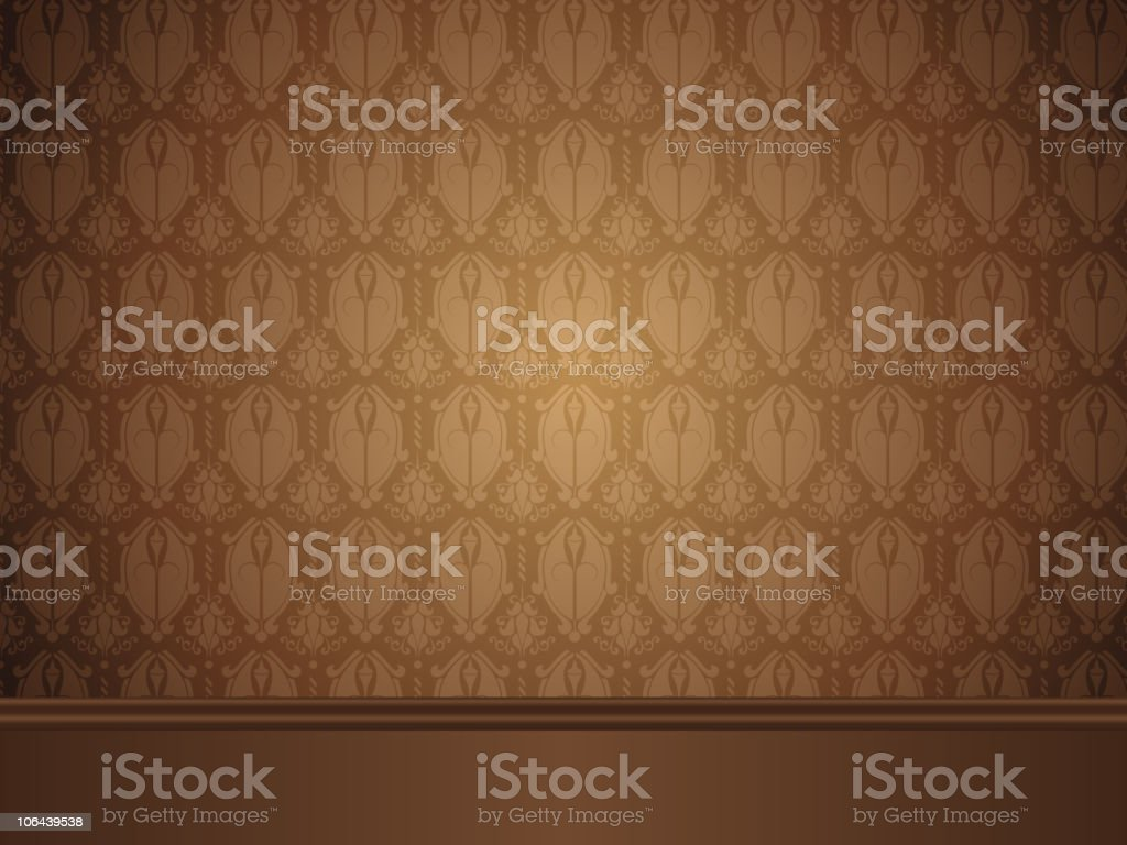 intage Room with wood floor and seamless wallpaper. royalty-free stock vector art