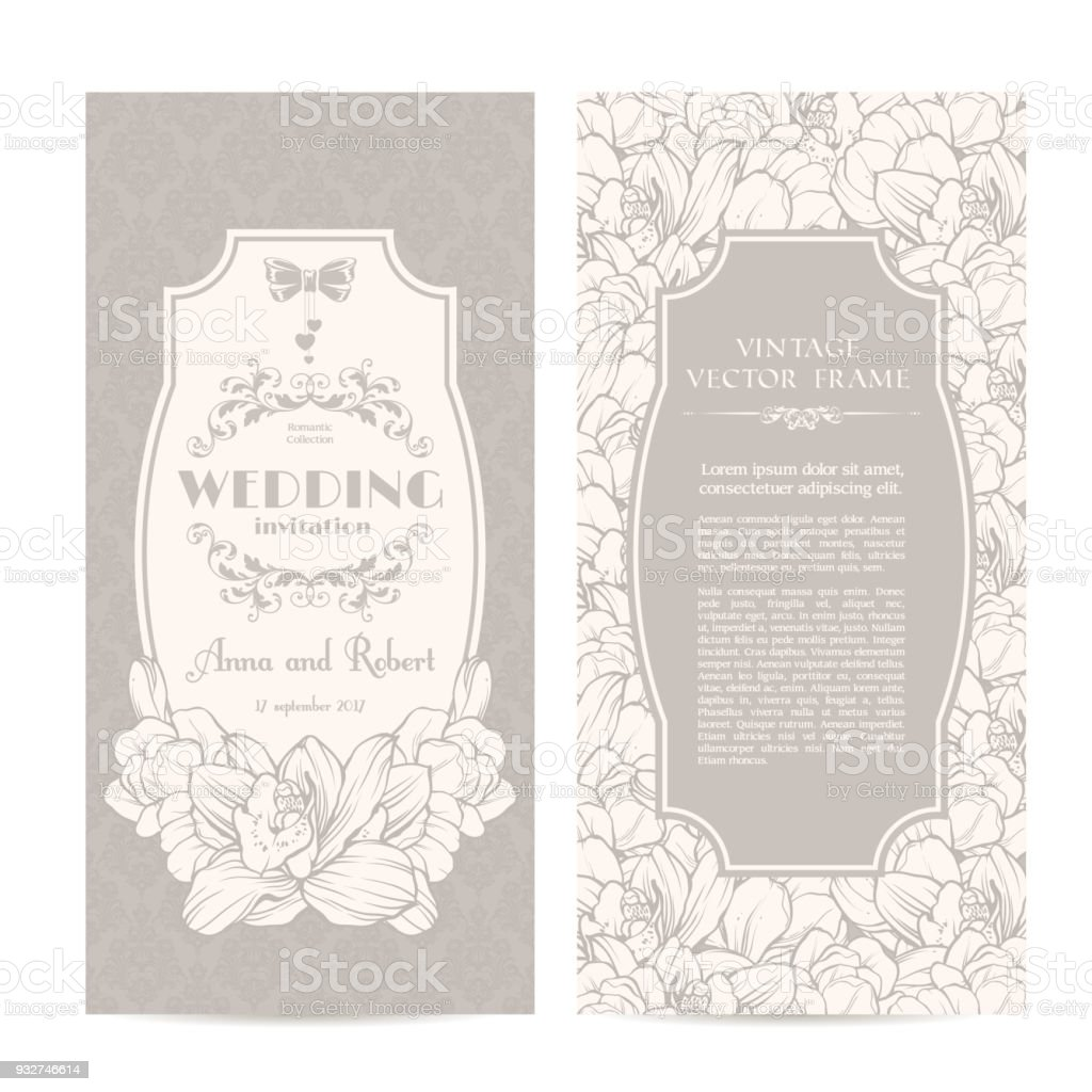Intage Set Of Template Spring Flowers And Patterned Background ...