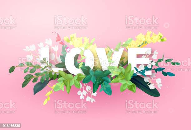 Integrated love lettering on a pink background and decorated with vector id918486336?b=1&k=6&m=918486336&s=612x612&h=yh0v sre4y smqhdnwqztxp5dz8bftbxg8w gkkvnoq=