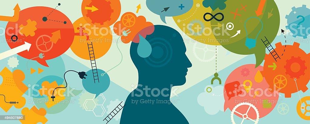 Intellectual Mind Horizontal vector art illustration
