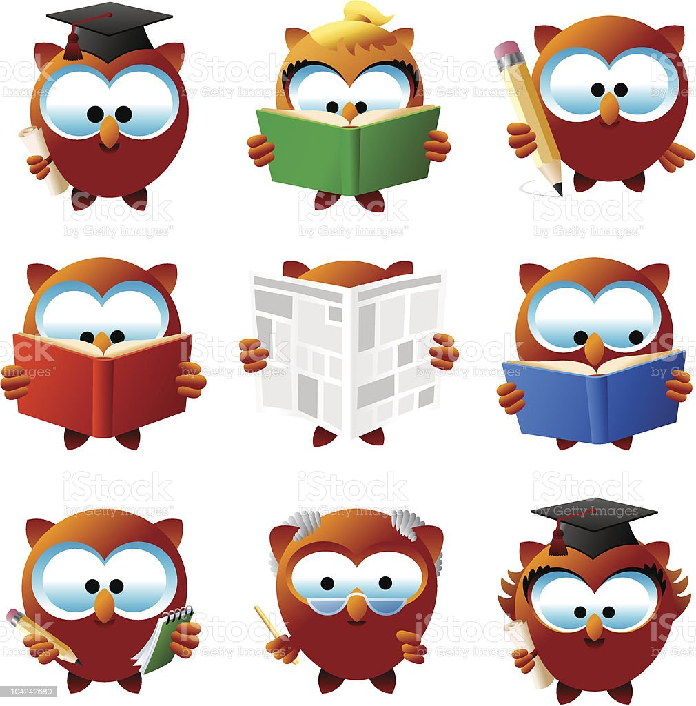 Intellectual Orly owls royalty-free stock vector art