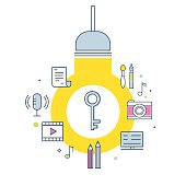 Intellectual Property Concept Illustration. Light Bulb, Key and Creative Work Products Icons