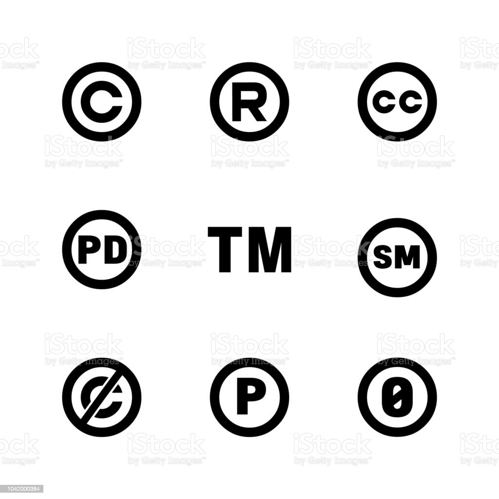 Intellectual Property Icons Copyright Creative Commons Trademark