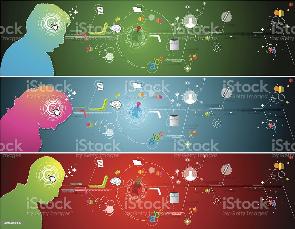 Intelligence technology banners royalty-free stock vector art