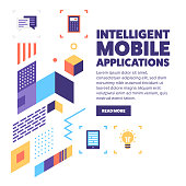 Intelligent mobile applications vector banner illustration also contains icons for the topic.