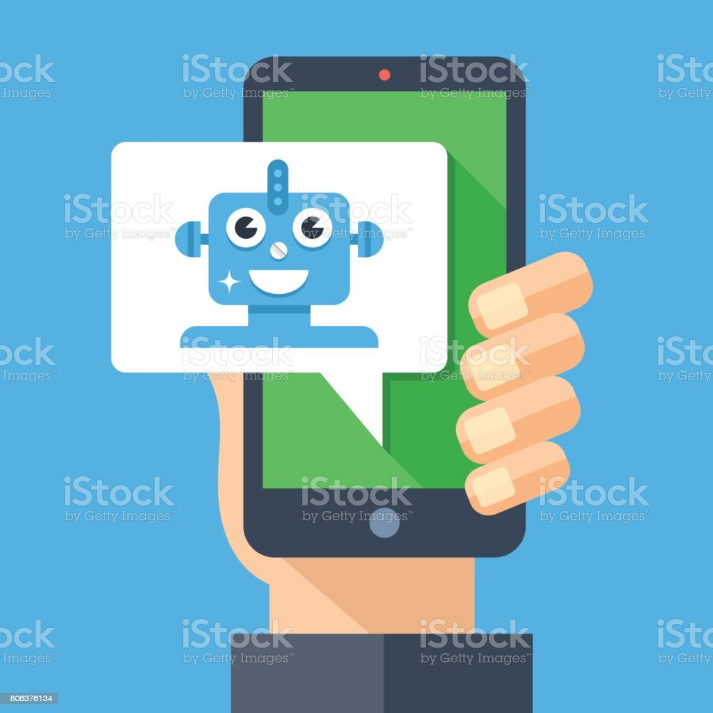 Intelligent personal assistant, virtual assistant, chat bot, chatbot concept. Hand holding smartphone with speech bubble and robot. Modern long shadow flat design vector illustration vector art illustration
