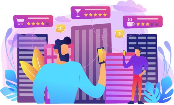 stockillustraties, clipart, cartoons en iconen met intelligente diensten in het smart city concept vectorillustratie - tafel restaurant top