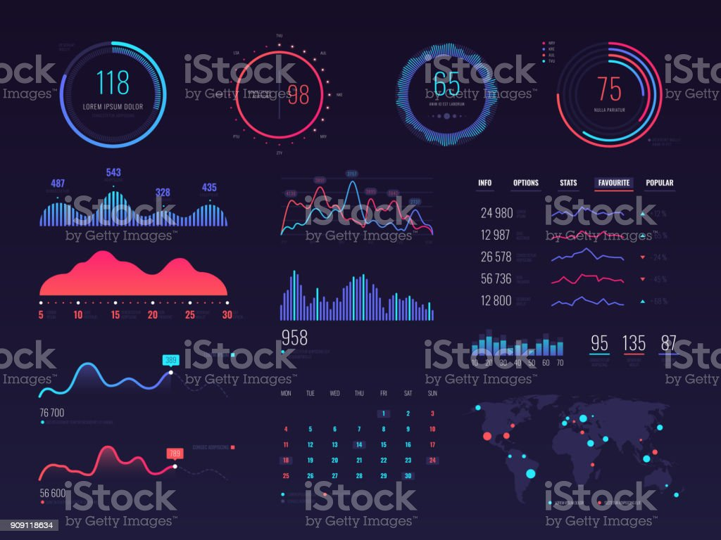 Intelligent technology hud vector interface. Network management data screen with charts and diagrams - ilustração de arte vetorial