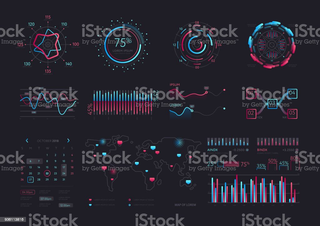 Intelligent technology hud vector interface vector art illustration