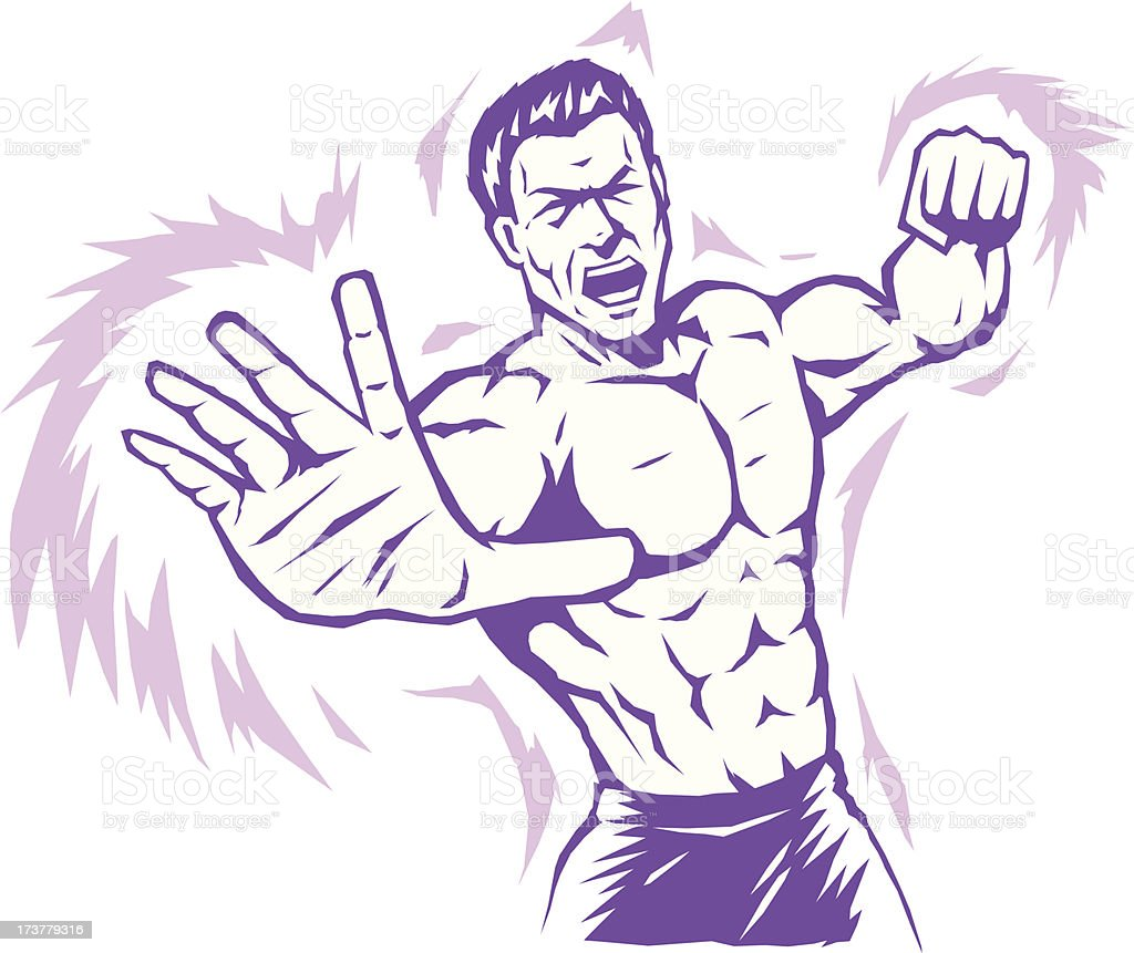 Intense stylized puncher royalty-free stock vector art