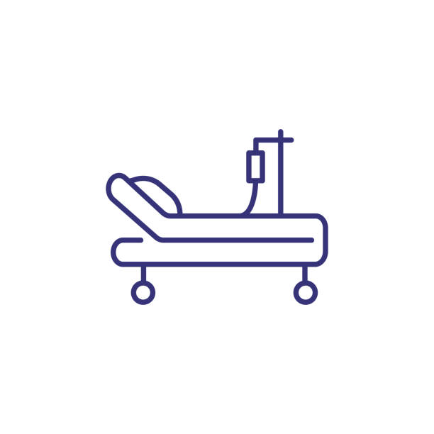 Intensive care unit line icon Intensive care unit line icon. Resuscitation, rehabilitation, hospital ward. Medicine concept. Vector illustration can be used for topics like healthcare, hospital, medical care life support machine stock illustrations