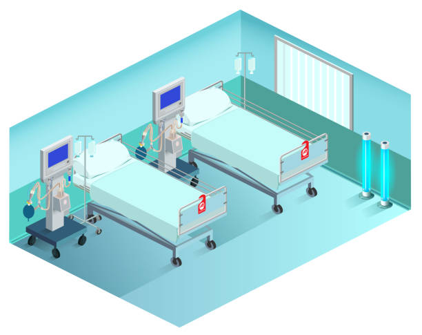 stockillustraties, clipart, cartoons en iconen met intensive care afdeling medische afdeling met beademing. 3d isometrische - ventilator bed