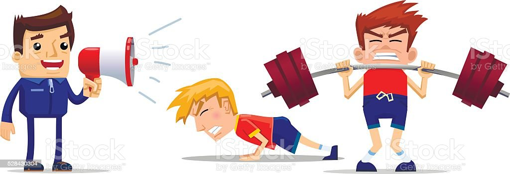 Intensive physical training course vector art illustration