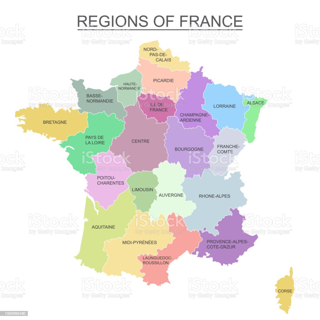 Interactive Colorful Map Of Metropolitans French Regions On White