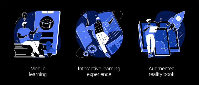 Interactive learning abstract concept vector illustrations.