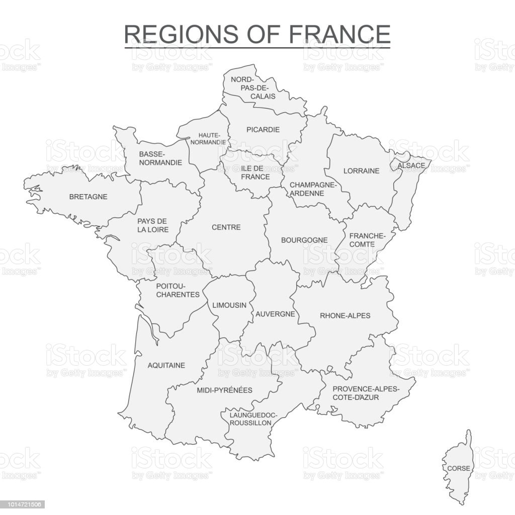 Carte interactive des régions Français métropolitains sur fond blanc - Illustration vectorielle