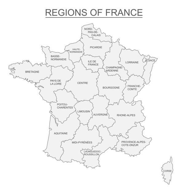 illustrations, cliparts, dessins animés et icônes de carte interactive des régions français métropolitains sur fond blanc - carte france