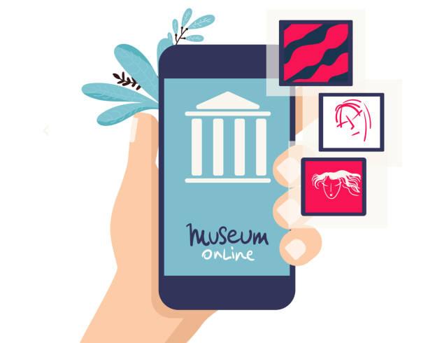 illustrations, cliparts, dessins animés et icônes de exposition muséale interactive. smatphone. musée virtuel en ligne et art gallerytours in smartphone. visites en ligne. concept plat vectoriel - museum