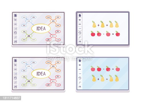 istock Interactive white board, smartboard set for learning and presentation 1311714837