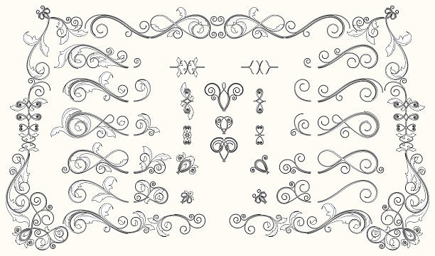 Interchangable Bold Floral Scroll Set A set of inter-changeable scrolls and flourishes that can be swapped around in different combinations to create a wide variety of designs. edwardian style stock illustrations