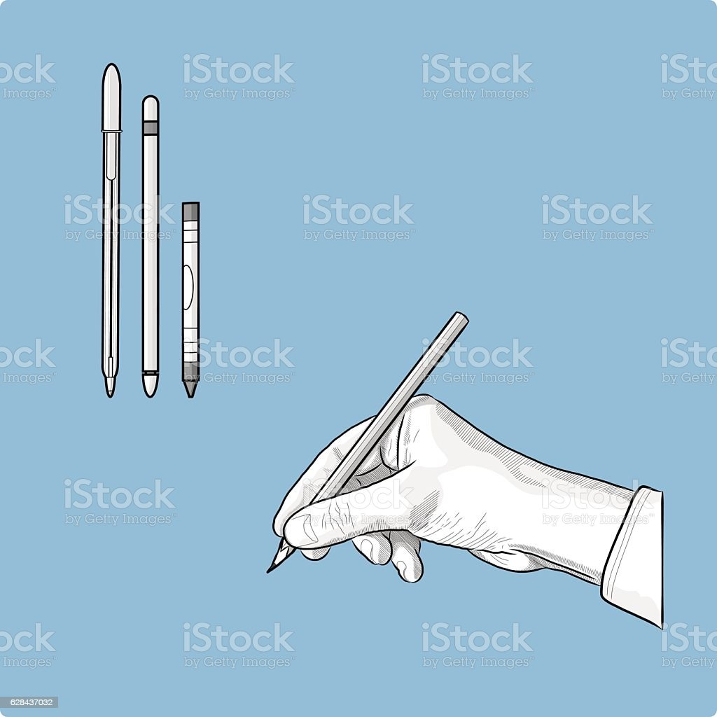 Interchangeable Stationary Set Classical Drawing Hand vector art illustration
