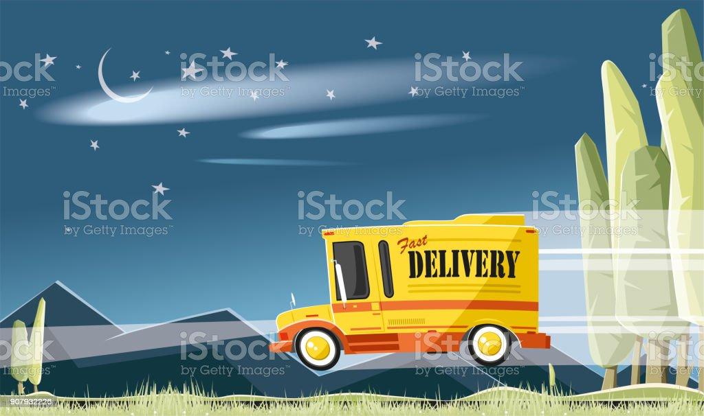 Intercity delivery vector art illustration