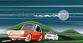 Easy editable intercity  driving vector illustration...