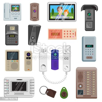 Intercom vector on-door communication equipment in house illustration set of door entrance protection security safety. system access doorbell video technology key trinket isolated on white background..