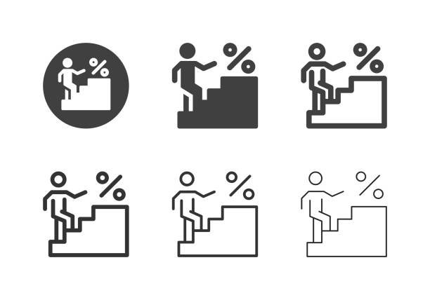 Interest Ladder Icons - Multi Series vector art illustration
