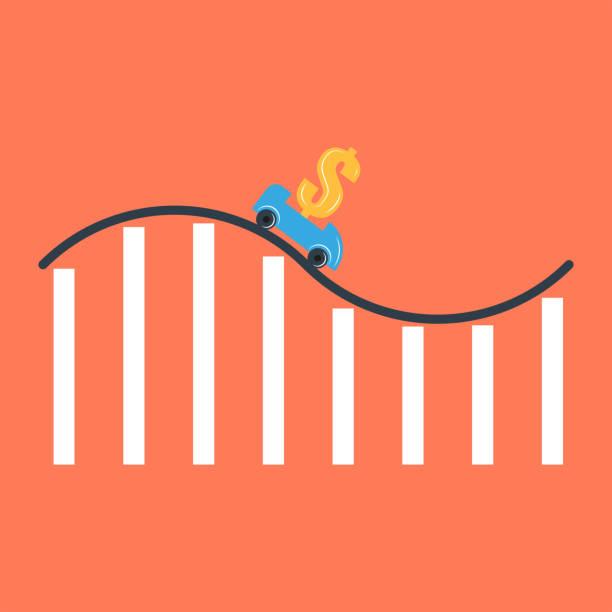 ilustraciones, imágenes clip art, dibujos animados e iconos de stock de reducción de la tasa de interés o depreciación del dólar ilustración financiera conceptual, carro de montaña rusa con un signo de dólar en una montaña rusa en forma de un gráfico de informe financiero - roller coaster