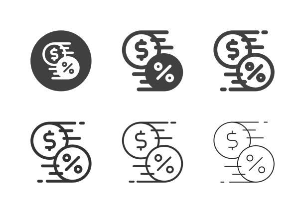 Interest Transfer Icons - Multi Series vector art illustration