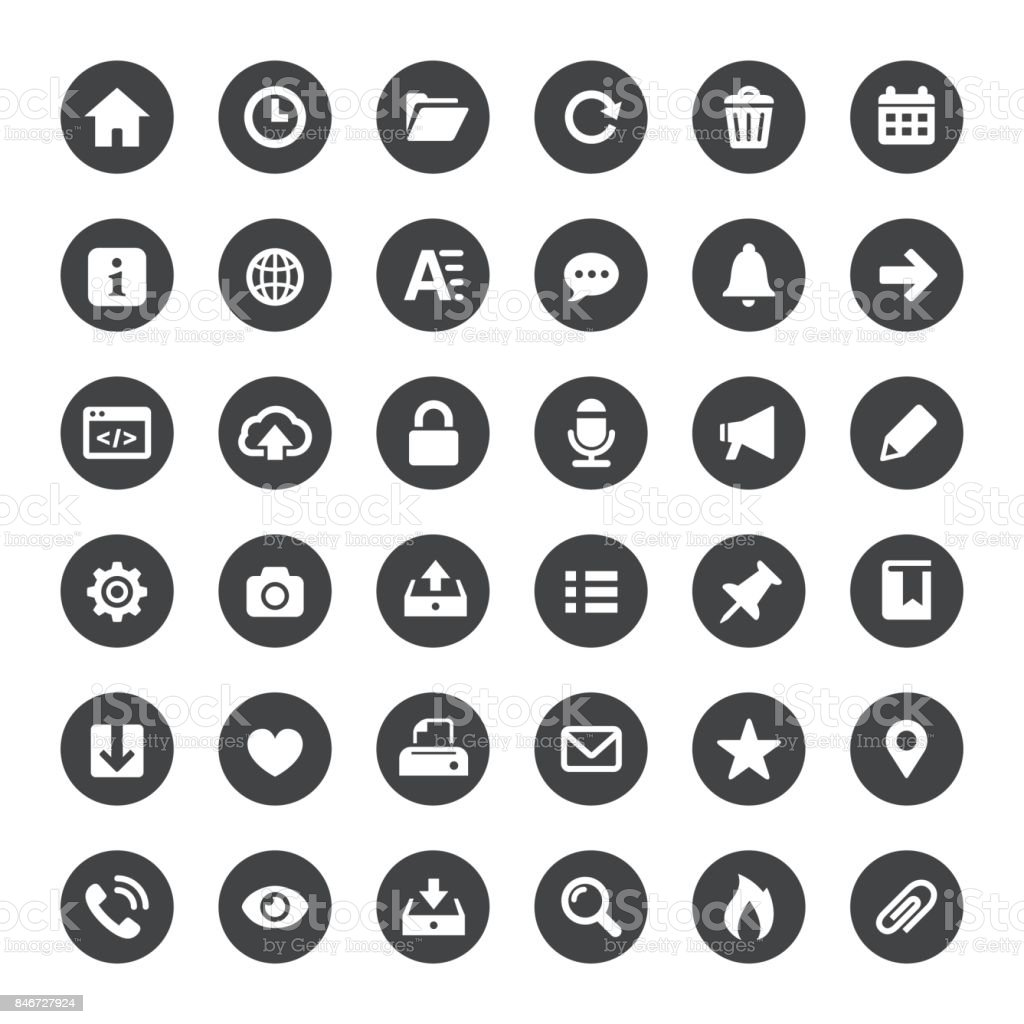 Interface and Media Vector Icons vector art illustration