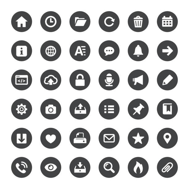 interface and media vector icons - strona startowa stock illustrations