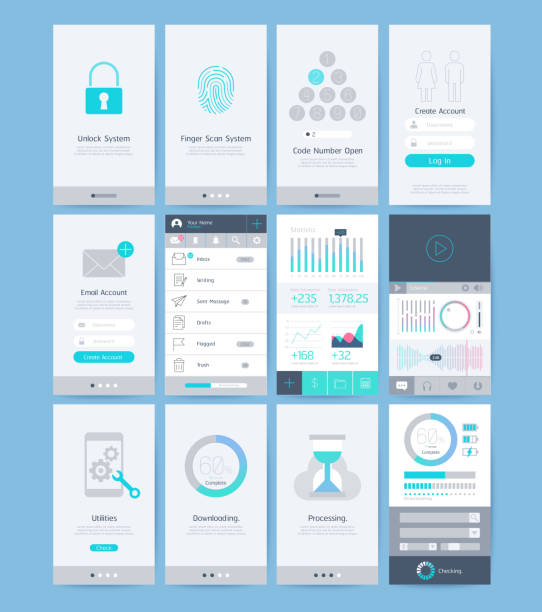 interface and ui design elements. - email templates stock illustrations