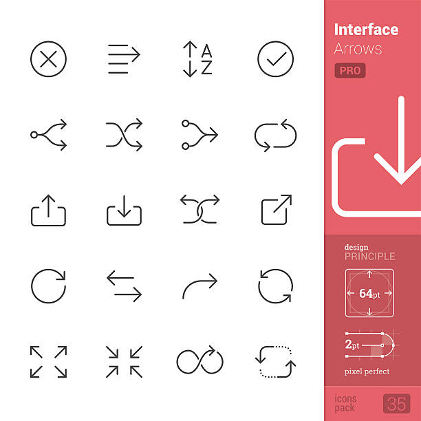 Interface Arrows Outline vector icons - PRO pack vector art illustration