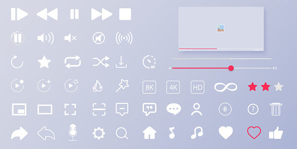 Interface buttons. Mobile ui/ux social speech bubbles. Media player icons. Modern flat video player interface. Vector illustration