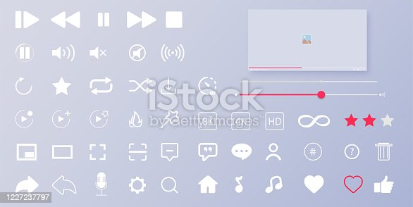 istock Interface buttons. Mobile ui/ux social speech bubbles. Media player icons. Modern flat video player interface. Vector illustration 1227237797