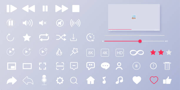 Interface buttons. Mobile ui/ux social speech bubbles. Media player icons. Modern flat video player interface. Vector illustration Interface buttons. Mobile ui/ux social speech bubbles. Media player icons. music icons stock illustrations