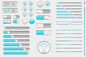 Interface buttons. Web toggle switch and push buttons, navigation buttons and slider bars