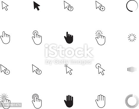 Interface cursor. Choosing here point ui touch click arrows and hand screen pointing vector icons. Press pointer touch, click cursor interface illustration
