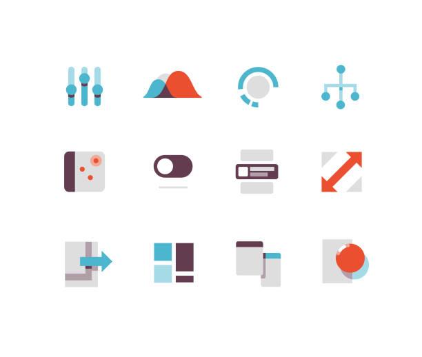 flache oberfläche symbole - webdesigner grafiken stock-grafiken, -clipart, -cartoons und -symbole