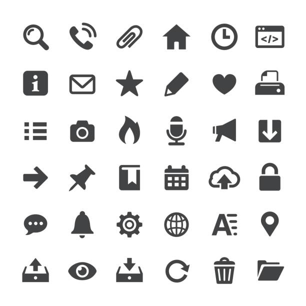interface icons - big series - strona startowa stock illustrations