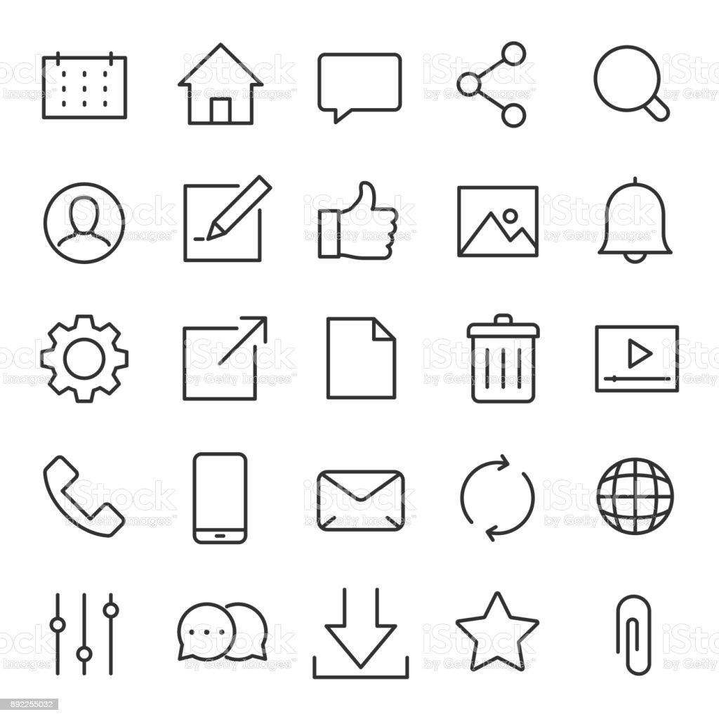 Interface icons for the website and app. Line with Editable stroke vector art illustration