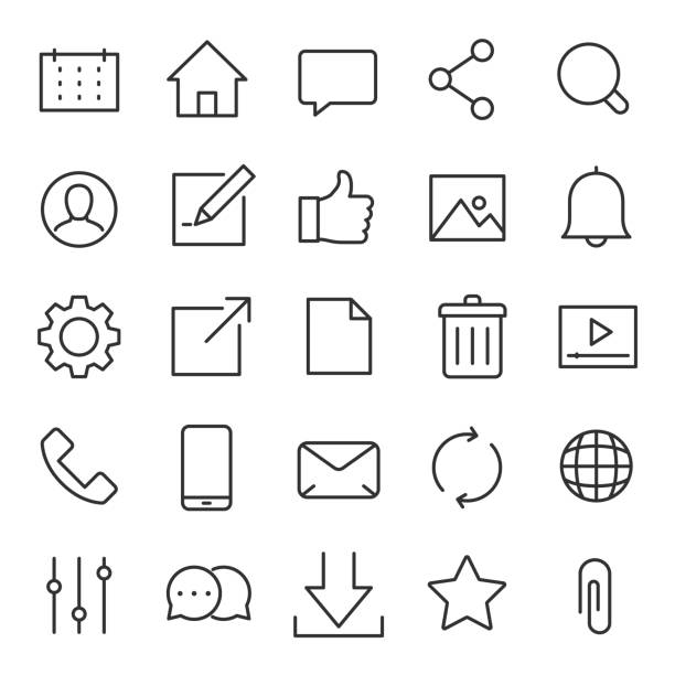 interface icons for the website and app. line with editable stroke - wspólnie korzystać stock illustrations