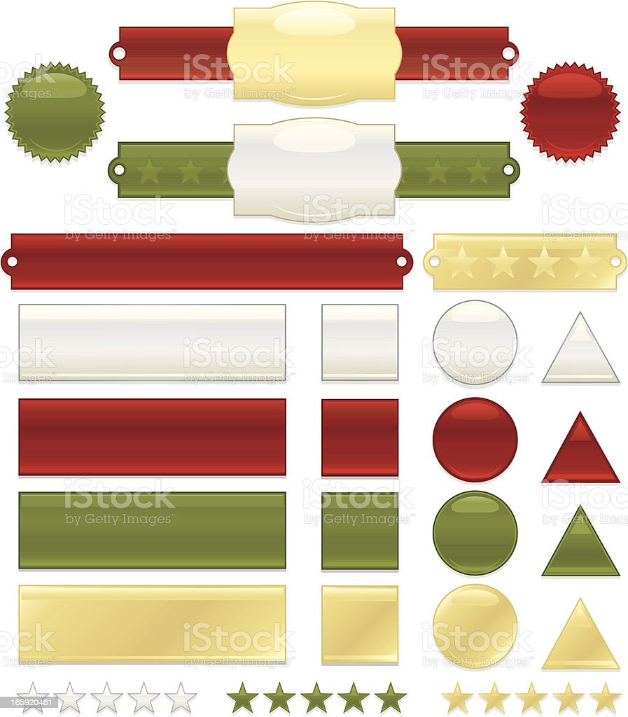 Interface Icons, Labels, Banners, Stickers Set: Green, Red, Gold, White royalty-free stock vector art