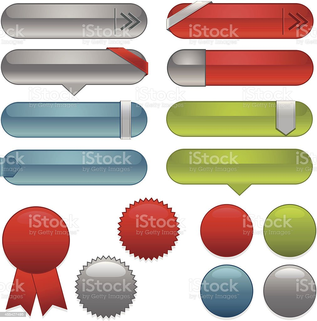 Interface Icons, Labels, Ribbons, Stickers Set: Blue, Green, Red, Silver royalty-free stock vector art