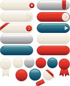 Design set of shiny, metallic blue, creamy white, red, silver: interface icons, Web buttons, stickers, labels, ribbons. *OPTIONAL arrows, corner & edge ribbons.* Mix, match. Copy space.